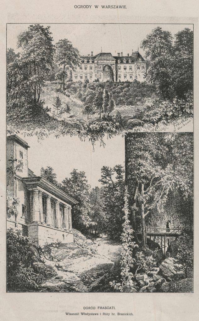Ilustracja przedstawiająca ogród Frascati w Warszawie. Źródło: Biesiada Literacka. T. 52, 1901 nr 28 s. 30, Mazowiecka Biblioteka Cyfrowa.
